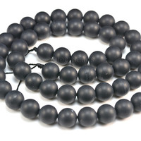 black onyx matte beads - frosty finished round bead - black gemstone bead - frosted onyx - onyx beads wholesale -- authentic black -15inch