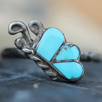 Zuni Inlay Turquoise Butterfly Ring Sterling Silver Midi Stacking
