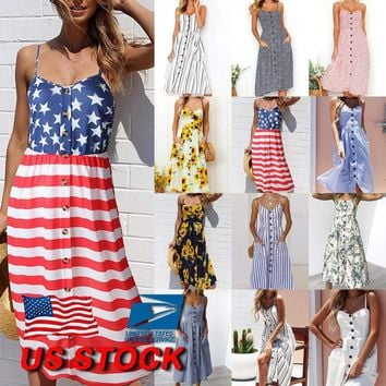 Womens BOHO Garden Floral Striped Strappy Summer Beach Ladies Midi Sundress US