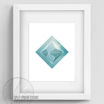 Blue Green Prism Instant Download Wall Art, Printable Wall Art, Geometric Wall Art, Geometric Home Decor, Prism, Minimal Home Decor, Digital