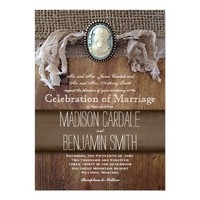 Vintage Cameo Brooch Burlap Wood Wedding Invites