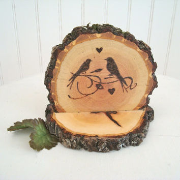 Wedding Cake Topper Rustic Wood Love Birds Wood Burned