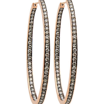 Grey Diamond Oval Hoop Earrings