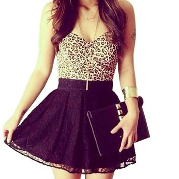 Hot strapless leopard lace dress
