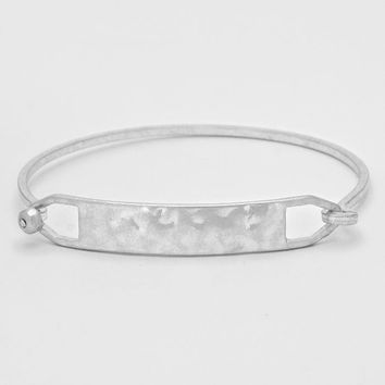 Crystal Accented Tag Charm Bangle Bracelet