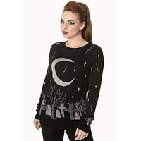 Rockabilly Gothic Eerie Cemetery and Moon Black Knit Sweater Top