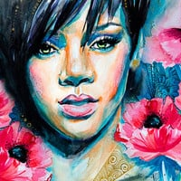 "Rihanna watercolor painting print 8"" x 12"" Celebrity Portraits"