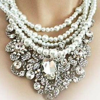 Bridal Jewelry Statement Necklace Pearl and Rhinestone Wedding Necklace