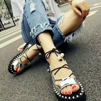 SUECOMMA BONNIE Women Fashion Casual Low Heeled Shoes Sandals Shoes