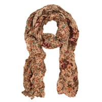 Unique Two Sided Flower and Cherry Print Scarf, Beige