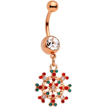 Red Green Gem Rose Gold Tone Winter Blizzard Dangle Belly Ring