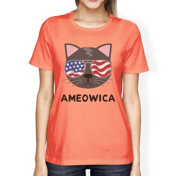 Ameowica Cute Independence Day T-Shirt Idea For Women Round Neck