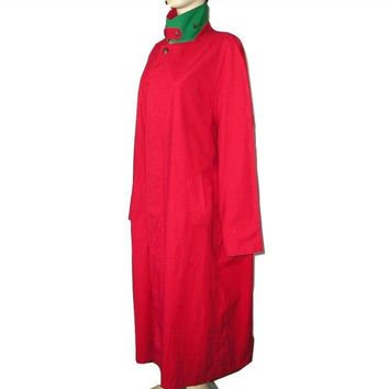 Vintage Unisex Polo by RALPH LAUREN Maxi Oversized Waterproof Red Trenchcoat Raincoat L-XL Plus Size - 80s Avanty Garde