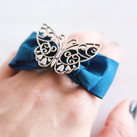Butterfly on Blue Bow Ring