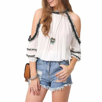 Woman's Cold Shoulder White Chiffon Top with Navy Crochet Ruffle Trim