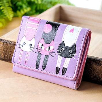 Lovely Cat Print 3 Fold Leather Wallet
