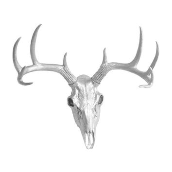 Mini Deer Head Skull | Faux Taxidermy | Silver Resin