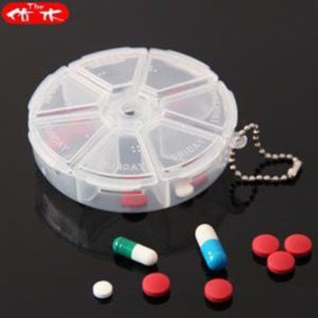 Round 7 Day Pill Box Medicine Organizer Multifunctional Mini Pill Case Portable Storage  Box