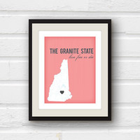 New Hampshire art - New Hampshire map - Concord NH - Manchester NH - custom 8x10 New Hampshire print