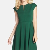 Women's Gabby Skye Pleat Front Ponte Fit & Flare Dress,
