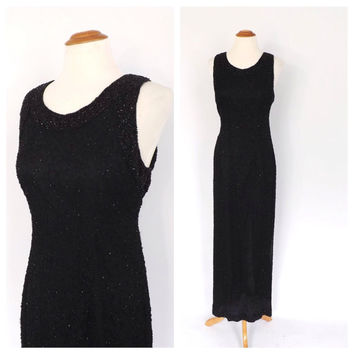 Vintage 1990s does 1930s Black Beaded Maxi Dress Sexy Laurence Kazar Fitted Gown Art Deco Mermaid Dress 40s Old Hollywood Dress Size Large