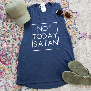 Not Today Satan Ladies Muscle Tank