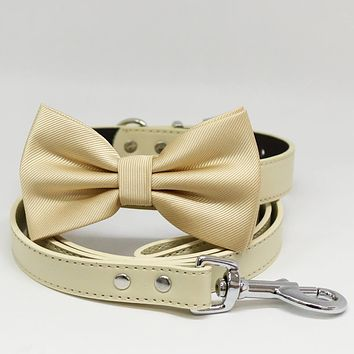 Dog collar and Leash, Ivory Bow tie, Ivory Leash, Handmade, Leather collar