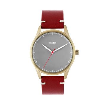 Miró Watches — Grey Face Ruby Strap — Gold