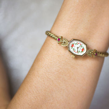 Posh women's watch gold plated lady's wristwatch Seagull mint condition watch flowers oval women's watch strap adjustable ring for big wrist