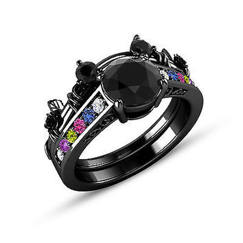 black gold on 925 sterling multicolor stone mickey mouse wedding bridal ring set - Mickey Mouse Wedding Ring