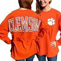 South Carolina Clemson Tigers Women's Logo Sweeper Long Sleeve Oversized Top Shirt