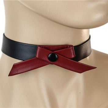 Cute Red Ribbon Tie Black Leather Choker Alternative Clothing Emo Dancer Collar