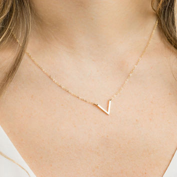 ON SALE Silver V Necklace, Gold V Necklace, Chevron Necklace, Minimalist Necklace, Geometrical Necklace, Boho Necklace, Boho Jewelry