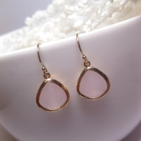 Penguin Blush Ice Pink Earrings With 14k Gold