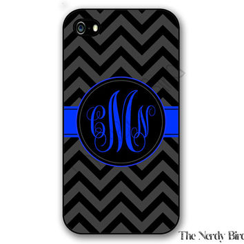 Monogram Thin blue line American flag iPhone 4, 5, 5c, 6 and 6 plus and Samsung Galaxy s3, s4 and s5 phone case