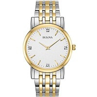Bulova Mens Diamond Watch  - Stainless & Gold Tone - White Dial - 38mm