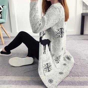 Christmas Snowflake Deer Hooded Sweater Knit Cardigan Jacket Coat
