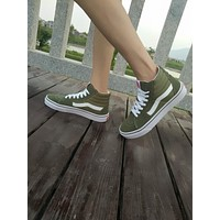Best Deal Online Vans old skool DT SK8-Hi Army Green High Top Men Flats Shoes Canvas S