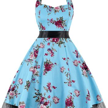 Atomic Light Blue Floral Halter Swing Dress