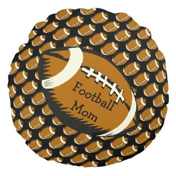 Football Mom Black and Brown Sports Round Pillow