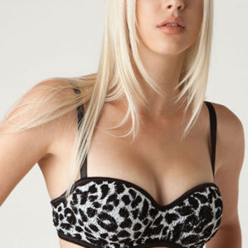 Snow Leopard sequin push-up bra. rave. dancer. burlesque. lingerie.