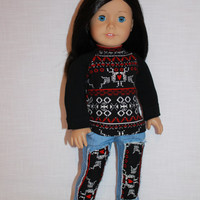 18 inch doll clothes, black and red fair isle print shirt, blue denim ripped jeans with inserts,  Maplelea