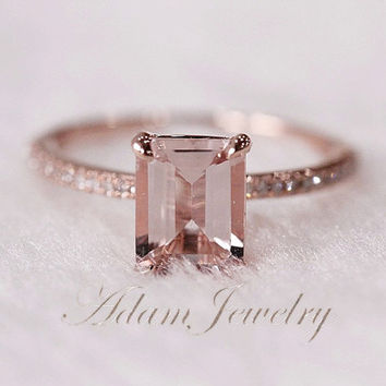 Pink Emerald Cut VS Morganite Ring SI H Diamonds Wedding Ring 14K Rose Gold   White Gol 405065891