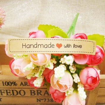 """300pcs 7.5*1.30cm kraft """"handmade with love""""gift seal label stickers for Handmade baker cookies Gift Bag Candy favors label"""