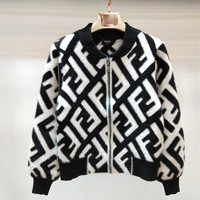 FENDI Women Fashion Fur Cardigan Jacket Coat