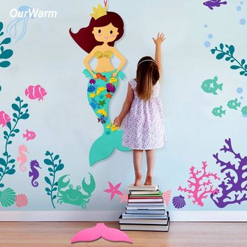 OurWarm Felt DIY Craft Birthday Party Decorations Kids Mermaid Unicorn Party Game Party Favors for Kids Birthday Gift 100cm