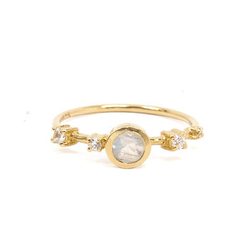 Rainbow Moonstone + Diamond Constellation Ring
