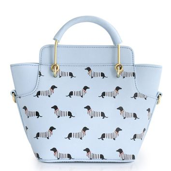 Faux leather tote bag Dachshund Stripes