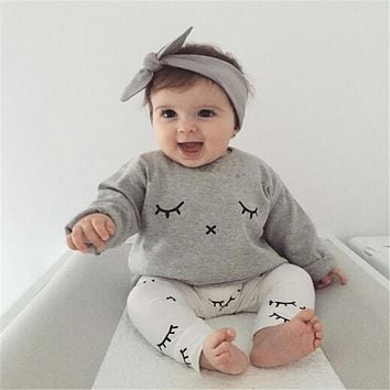 Toddler Baby Sets Cotton Lovely Newborn Baby Set Girl Kids Pattern T-shirt Tops+Long Pants Outfits Summer Baby Set Clothes