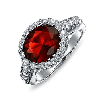 3CT Oval Solitaire AAA CZ Statement Halo Simulated Red Garnet Ring